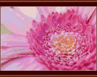 Pink Gerbera Cross Stitch Pattern