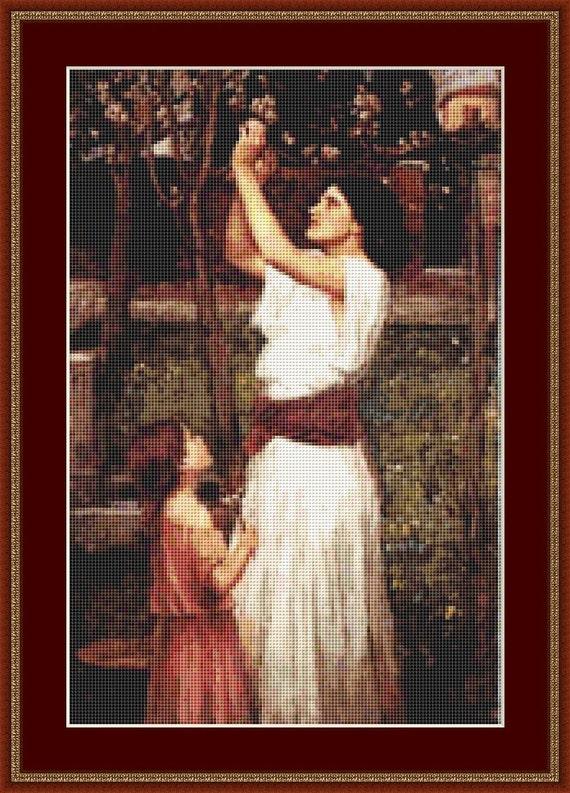 Gathering Almond Blossom Cross Stitch Pattern /Digital PDF Files /Instant downloadable