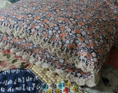 Pillowcase Ditsy Floral Pillow Case with a Crochet Trim in Coral Navy and Cream