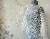 Lace linen wrap shawl in cream color - summer shawl