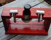 Dual Safety Razor and Badger Brush Shaving Stand, Padauk Wood