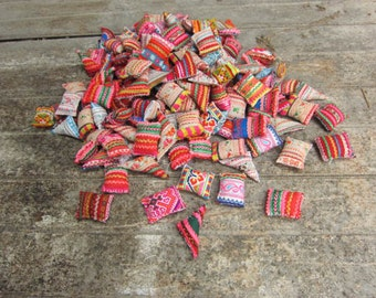 25pcs Hmong Embroidered Miniature Cushions Pillows Hmong textile shapes Vintage Fabrics Hand Stitched