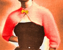 Vintage 1950s Bella Angora Bolero Shrug 763 PDF Digital Knit Pattern