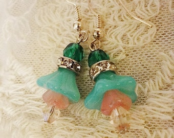 Mori Girl Fairy Blossom Earrings, Aqua Mint, Rose and Teal Blossom Assemblage Earrings, Bell Flower, Shabby Chic, Bertha Louise Designs