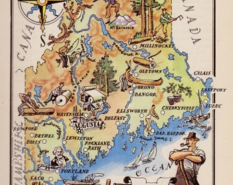 1940s Vintage MAINE Map of Maine Gallery Wall Art Indian Logging Hunting Fishing Gallery Wall Art Map Collector Gift for Traveler 6619
