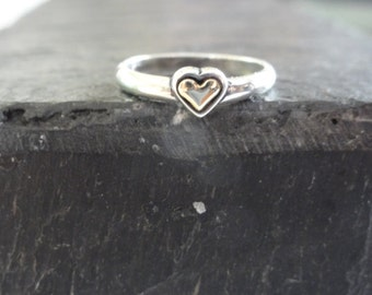 Heart  14K gold and Silver Solitaire Ring , solid gold sterling silver ring,silver bridal ring, promise ring,lover ring