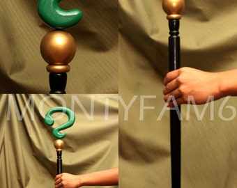 RIDDLER CANE Green Black  Question Mark Costume Walking Stick Prop Cosplay Comic Con