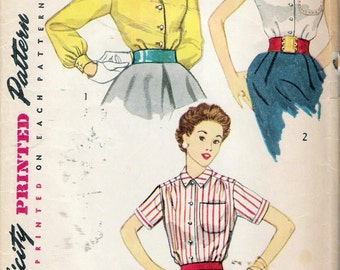 Vintage 1953 Simplicity 4256 Three Shirt Blouses Sewing Pattern Size 18 Bust 36""