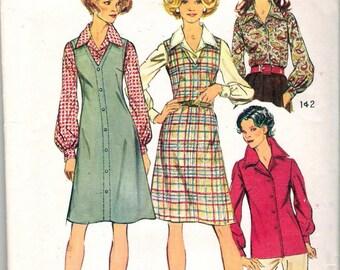 Vintage 1973 Simplicity 5913 Jumper & Blouse Sewing Pattern Size 16 UNCUT
