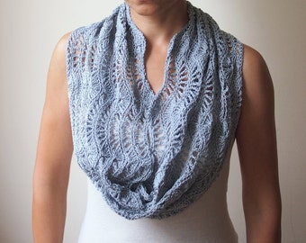 Crochet pattern loop scarf lacy woman caplet shrug shawl circle scarf bride wedding infinity scarf neckwarmer ripples waves Instant download