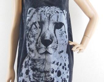 Tiger T-Shirt  Tiger tank top Bleached Shirt Women Tank Top Unisex Tank Sleveless Black T-Shirt Screen Print Size M