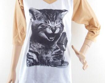 Size M : Cat Sing A Song Shirt Cat Tshirt Meow shirt Kitten shirt Teen shirt cute shirt graphic tee Baseball tshirt Raglan Tee Women Tshirts