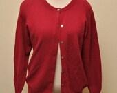1970s Cashmere Sweater Cardigan Maroon Size Medium Large Unisex