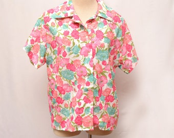 70s Floral Vacation Button Down Shirt Women's Medium - Large