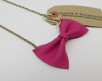 Handmade Pink Leather Bow Tie Necklace