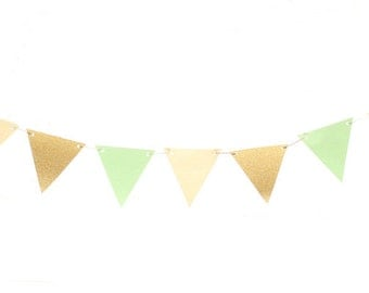 Mint Green Gold Ivory Triangle Flag Banner / Mint Green Gold Pennant / Mint Green and Gold Garland