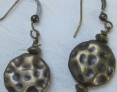 Antique bronze hammered round earrings