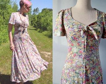 Flowing Floral Maxi Dress / Pastel / Small / Festival Boho / Stevie Nicks Gypsy