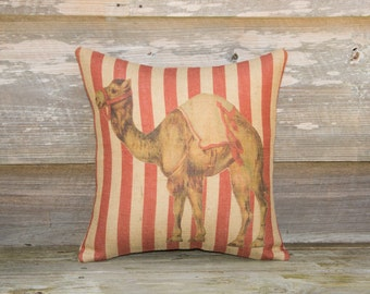 Circus Camel Pillow, Red Stripes, Burlap Decorative Pillow