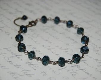 Artistic Wire Wrap Style Blue Crystal  Bracelet.