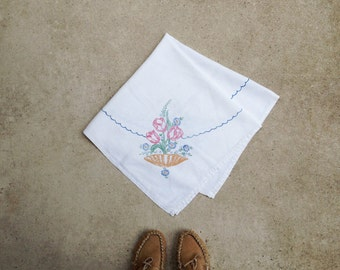 Vintage Hand Painted Linen Table Cloth 1950s / Small Square Table Cloth Basket and Tulips / Pink and Blue / Boho Shabby Chic Kitchen