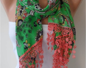 Green Floral Chiffon Scarf with  Lace Edge - Gift
