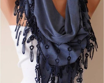 Dark Blue Cotton Scarf with Lace Edge - Triangular Scarf - Gift