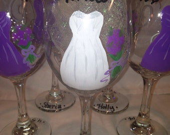 Wedding Party Wine Glasses, Bachelorette and Bride Glasses, Bridal Party Groomsmen Bridesmaides (12.00 each)