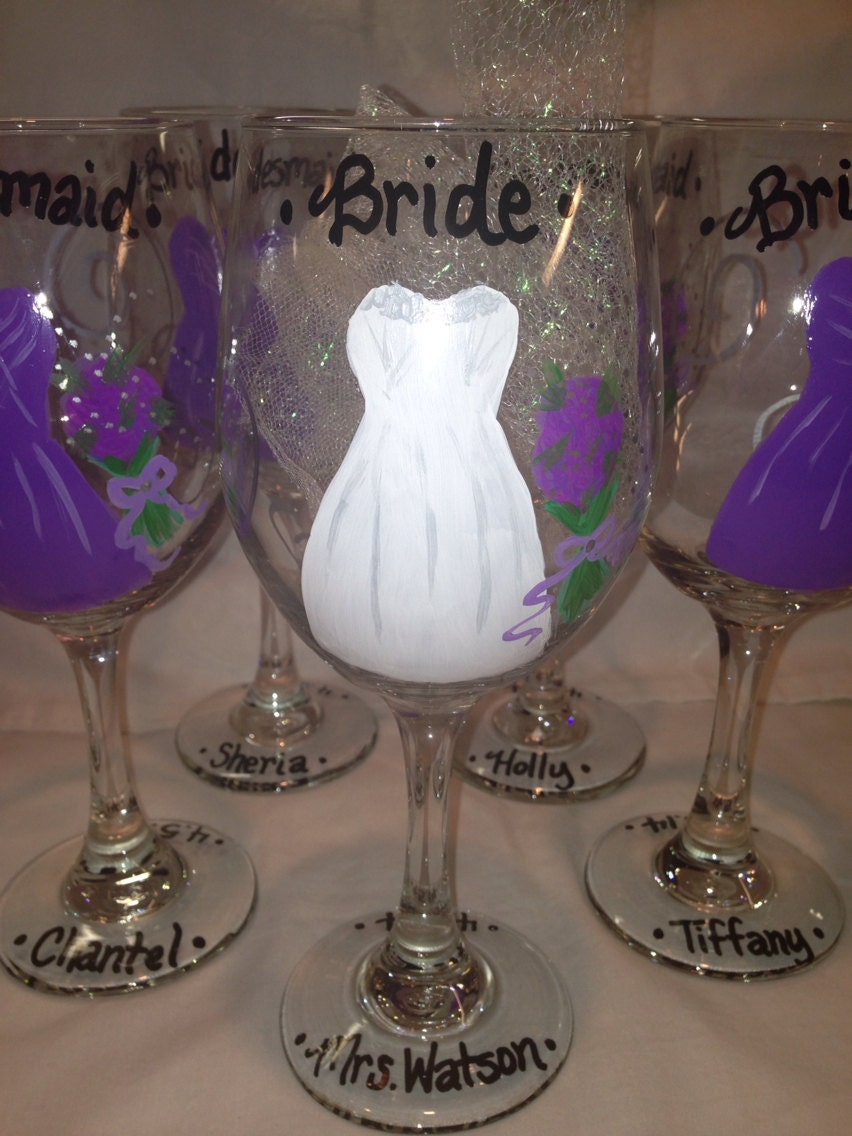 wedding party wine glasses bachelorette and bride glasses