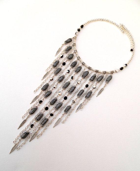 grey bib necklace leaf necklace handmade by insoujewelry