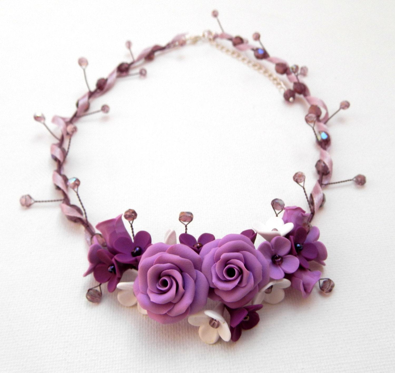Flower Necklace Statement Necklace Wedding Jewelry by insoujewelry