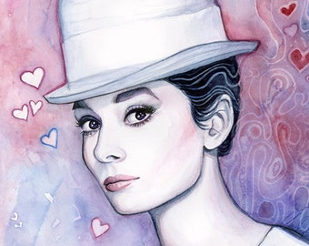 Audrey Hepburn Wall Art Audrey Hepburn Watercolor Painting Fashion Illustration Romantic Fine Art Giclee Print