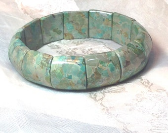 Green Imperial Jasper Bracelet Handmade Jewelry by NorthCoastCottage