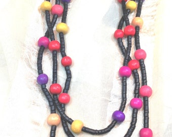 Vintage Wooden Necklace 3 Strand Multicolor Estate Jewelry