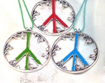 Enamel Peace Sign Necklaces With Rosebuds Handmade Jewelry Pewter Peace Medallion