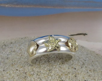 14k Gold and Sterling Silver Double Sea Life Stacker Ring