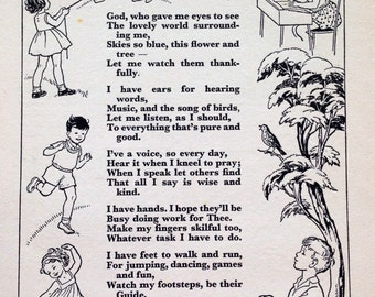 1950s A PRAYER to Make Me WISE Christian Poem Rhyme
