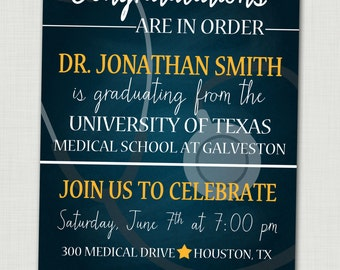 medical school graduation  etsy, Quinceanera invitations