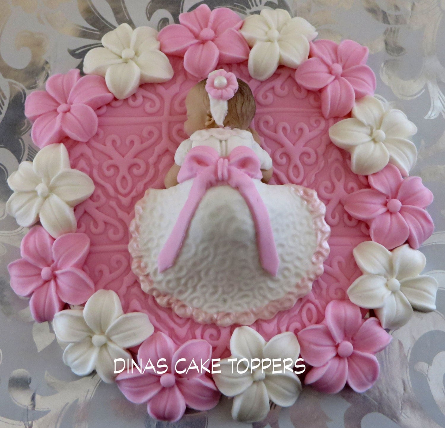 Baptism Cake Topper Girl flowers Pink by DinasCakeToppers ...