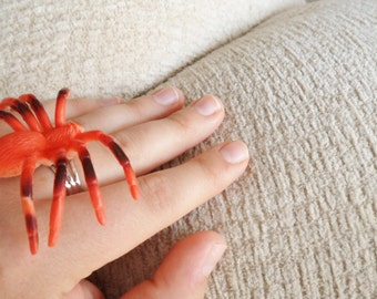 Orange Plastic Spider Ring Halloween Creepy Jewelry