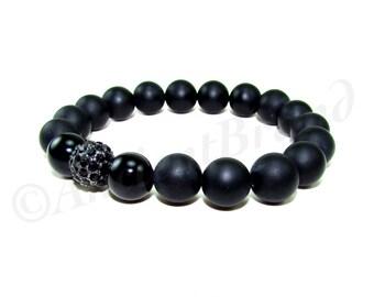 Raven Men's Black Matte Onyx Beaded Bracelet