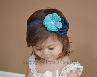 Baby headband, Navy and Aqua, Headbands, infant headbands, Newborn Photo Prop, baby hair bow, Navy bow, baby accessories, newborn headband