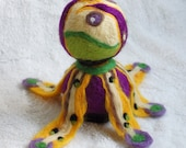 Felt art, OOAK, Hand felted sculpture with lots of colors, wool sculpture, purple, green and orange