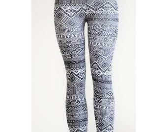 Tribal Womens Aztec mayan print pattern black and white Leggings Tights small to plus size leggings