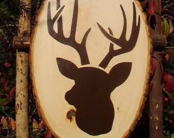 Wood Sign, Big Buck Deer Head Silhouette, Wood Slab, Rustic, Handmade, Nursery Deer