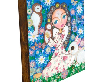 """Folk Art """"Angel in the garden"""", Print mounted on Wood ( size 7.2 x 9.5 inch), Mixed Media, Wall Decore by Evona"""