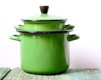 Retro green enamelware saucepans
