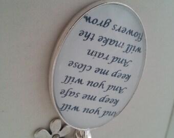 Les Miserables Eponine Quote Necklace. A Little Fall of Rain Lyrics