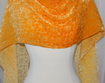 """OOAK Hand Dyed Golden Yellow Ombre Dyed  Shimmery Colored Silk Cut Velvet Scarf 14""""x 72"""" Daisies"""