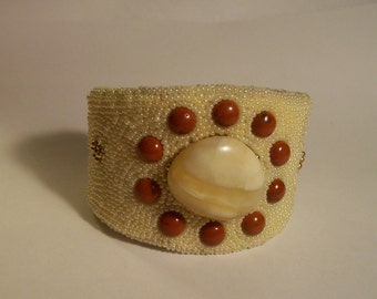 Beautiful Carnelian Gold Pearl and Polished Agate Cuff